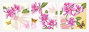 Wowdecor kit dipingere con i numeri per adulti bambini Junior principianti per anziani, pittura numerata, set da 3pezzi, colore rosa fiori e farfalle 16x 20x P cm Frameless