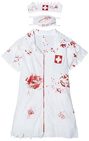 Smiffy's 34132L Zombie-Krankenschwesterkostüm, L, weiß (Mad Krankenschwester Halloween Kostüm)