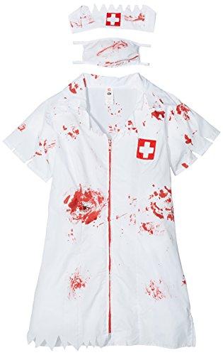 Gesicht Blutige Kostüm Reißverschluss - Smiffy's 34132S Zombie-Krankenschwesterkostüm, S, weiß