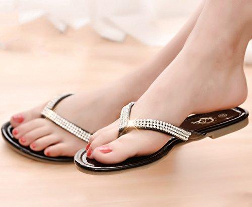 La Vogue Chaussure Tongs Femme Fille Plage Flip Flop Sandale Été Sandale Plat Noir
