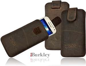 Burkley WETCASE-G6-i9190 Premium ANTIK maßgefertigte Leder Etui für Samsung Galaxy S4 Mini i9190 mit Easy-Out System und Klettverschluss in Stone Washed Antik Grau Braun