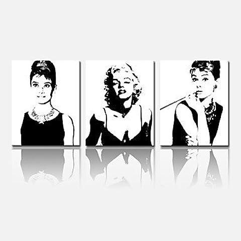 NSJ hepburn star?audrey visual de impresi¨®n de lona estirada decoraci¨®n del hogar estrella Marilyn Monroe artes