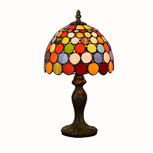 PPQQBB 8-Zoll-einfache mediterrane Tiffany-Stil Tischlampe, Schlafzimmer Dimmer Nachtlicht, Nachttischlampe mit Glasmalerei Schatten für Living RoomE27 -