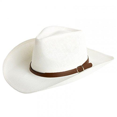 (CASPAR Herren Stroh Hut/Panama Hut/im Cowboy Stil mit braunem Gürtelband/Stetson - viele Farben - HT009, Farbe:Weiss;Hutgröße:S/M - 58cm Kopfumfang)