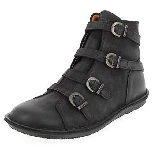 Dasongff Leichter Stiefel Casual Große Trendige Stiefeletten Runder Schnalle Ankle Boots Flache Schuhe -