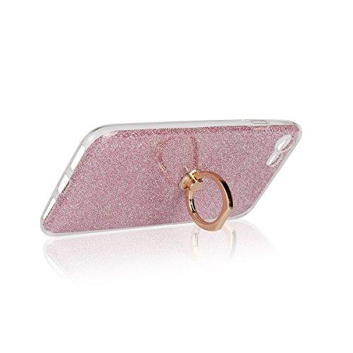 Meimeiwu 2 in 1 Ultra Slim TPU Bumper Back Cover Case Custodia With 360 Degree Rotating Ring per iPhone 4 - Oro Pink