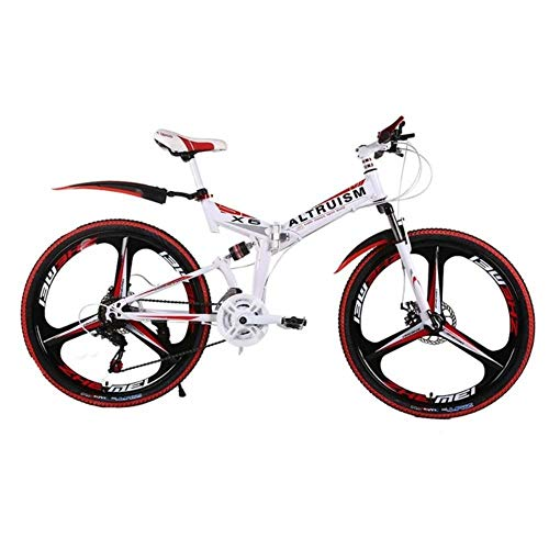 MZLJL Gebirgsfahrrad, X6 21 Speed   Steel Mountainbike Bicicleta 26 Folding Fahrrad Fahrräder Bicicletas Mens Mountain Bikes, weiß rot, China (Bike Bicicletas Mountain De)