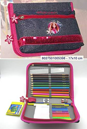 Astuccio scuola teenager doppia cerniera con matite (scuro)
