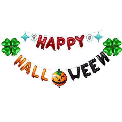 er Girlande Bunting Aluminiumfolie Luftballons Set Halloween Party Indoor Outdoor Dekoration für Zuhause Kindergarten Büro ()