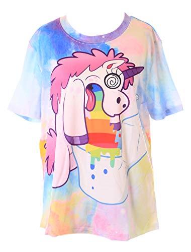 Kawaii-Story T-82 Bunt Crazy Unicorn Verrückter Einhorn Fantasy T-Shirt Pastel Goth Lolita Harajuku