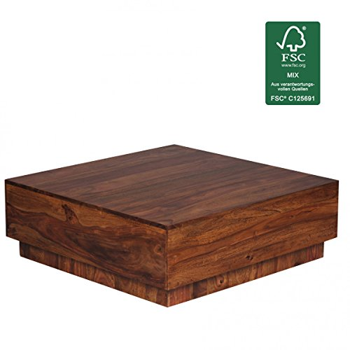 Sheesham Holz Sockel (FineBuy Couchtisch Massiv-Holz Sheesham 90 cm breit Wohnzimmer-Tisch Design dunkel-braun Landhaus-Stil Beistelltisch Natur-Produkt Wohnzimmermöbel Unikat modern Massivholzmöbel Echtholz quadratisch)