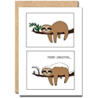 Funny Christmas Card Sloth Sister Male Boyfriend Female Her Mum Dad Sister Animal Cute