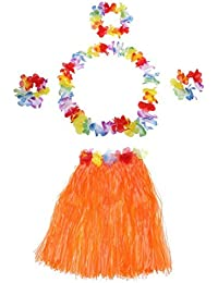 TOOGOO(R) 5Pcs New Hawaii Hula Skirt Set Handmade Grass Skirts Orange
