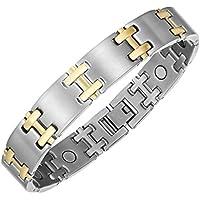 Zweifarbig Titan magnetisch Armband Armreifen für Herren für Arthritis Schmerzlinderung mit Fold Over Verschlüsse... preisvergleich bei billige-tabletten.eu