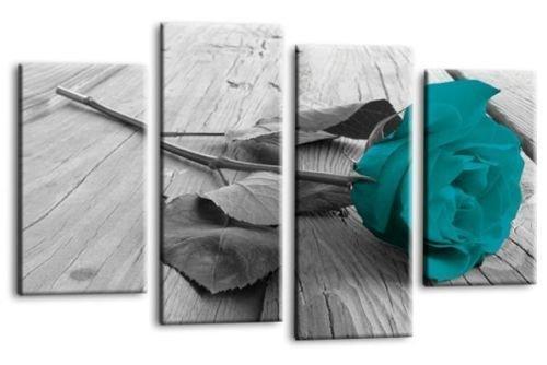 Le Reve Canvas Art Floral Teal Rose Liebe Kunst Bild Grau Weiß Blume Home Wand Leinwand Split Panel Print - Teal Grau-wand-kunst