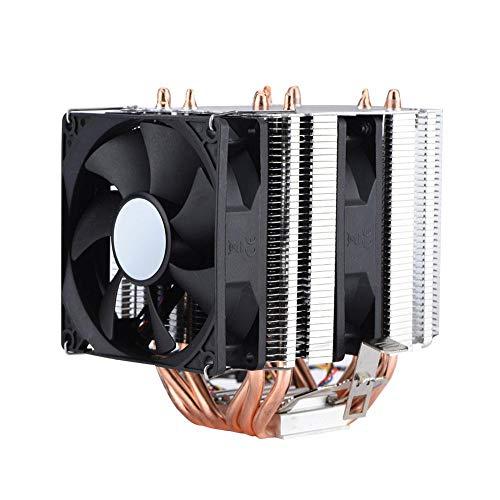 VBESTLIFE CPU-Luftkühler, CPU-Luftkühler mit Vakuum-90-mm-PWM-Lüfter, 4-poliger 6-Heatpipe, geräuscharmer Dual Tower-Kühlkörper für Intel & AMD -