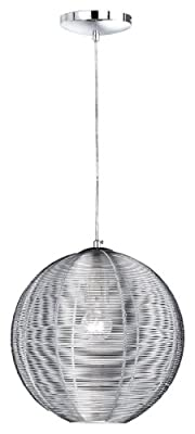 Wofi Pendelleuchte, 1-flammig, ø 30 cm, Abhängung 150 cm, silber 6273.01.70.0300 von WOFI LEUCHTEN - Lampenhans.de