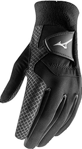 Pair of 2018 Mizuno ThermaGrip Mens Thermal Playing Golf Gloves Black Medium/Large