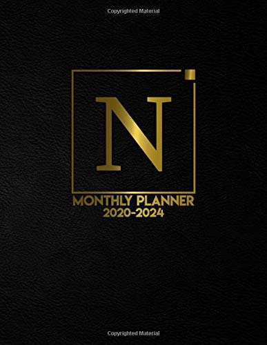 Monthly Planner 2020-2024: Initial Monogram Letter N Five Year Organizer with 60 Months Spread View. Nifty Black & Gold 5 Year Agenda, Calendar, Journal and Business Schedule Notebook.