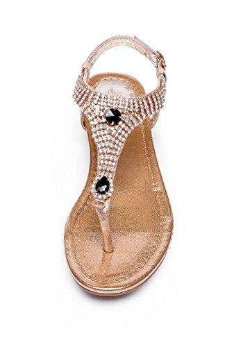Adee Mesdames cristal peau de mouton Boucle Pompes Chaussures Or - doré