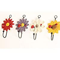Sunnyshinee Painted Flower Resin Wrought Iron Hook Garden Door After the Coat Hook Creative Mini Flocking Clothes Hanger Easy Hook(Red)