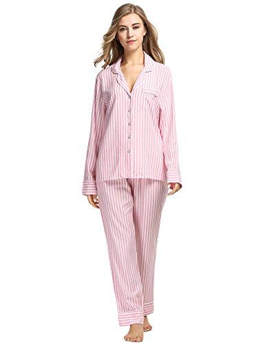 Ekouaer Damen Gestreift Schlafanzug Kurzarm Zweiteiliger Streifen Pyjama Hausanzug Knöpfen Rot913