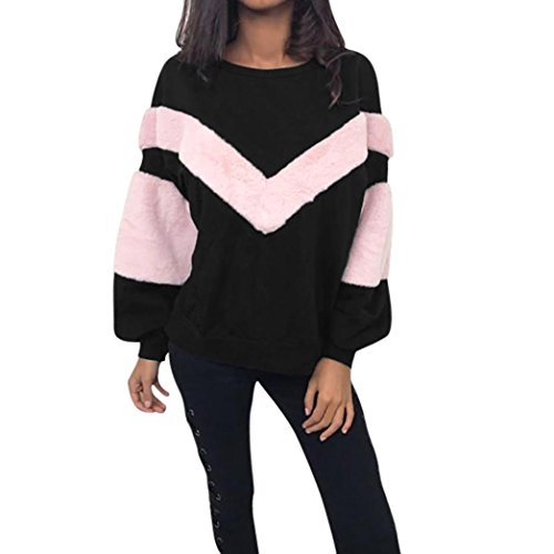 TWIFER Herbst Frauen Damen O Neck Sweatshirt Patchwork Kaschmir Langarm Shirt Ernte Pullover Bluse (S, Schwarz) -