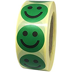Pastilles/gommettes smiley content VERT en papier autocollant - Ø 40 mm - En bobine/rouleau de 1000 Ex dans sa boite distributrice.
