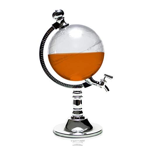 Grinscard Getränkespender im Globus Design - Transparent ca. 1 Liter - Stilvolle Zapfanlage für Hausbar und Partys