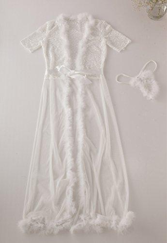 Bigood Nuisette Longue Femme Sexy Robe de Nuit Lingerie Erotique Cape Pyjama Transparente Blanc