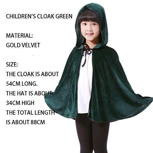 qys Halloween-Umhang Cosplay Weihnachtskostüm Langer Mantel des Todes Zauberer Hexe Prinz Prinzessin Umhang(Green,88cm)