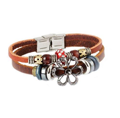 FAIRY COUPLE Sonnenblumen & Kristall Kerle Vintage Stil exotisch Leder Armband-19cm- L5 (Durango Leder)