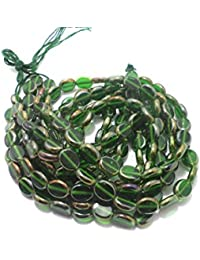Beadsnfashion Window Metallic Lining Flat Oval Beads Green 12x10 Mm, Pack Of 5 Strings Each 16 Inch