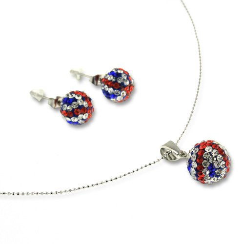 cklace and Earrings Jewellery Set. Multi Colour, Red, White and Blue Colours. Embedded Czech Quality Crystals Give a Radiant Glow. Great Gift. (White Tiger-kostüm-ideen)