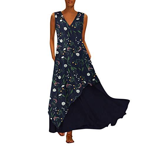 Tohole Damen Strandkleider Türkischer Stil Boho Lose Tunika Lange Sommerkleider Shirt Strandhemd Kleid Urlaub Vintage unregelmäßiges Kleid(Marine A,3XL) -