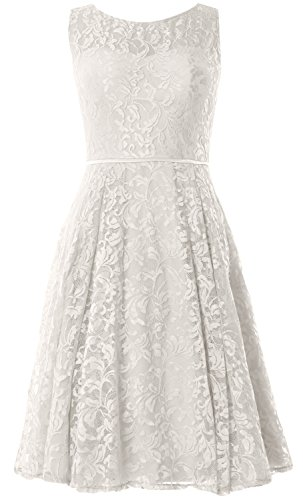 MACloth Women Lace Cocktail Dress Vintage Knee Length Wedding Party Formal Gown Elfenbein