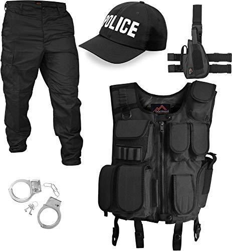 Swat Polizei Kostüm - normani SWAT/Security/Police Kostüm bestehend aus Weste, Hose, Pistolenholster, Handschellen und Basecap Farbe Schwarz/Police Größe M