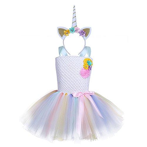 Wunderschönes Kinder Mädchen Einhorn Blumen Ballettkleid Tutu Partykleid Cosplay Kostüm Einhorn Kleid mit Einhorn Haarreif für Tanz Party Karneval Regenbogen130