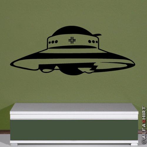 Militar haunebu UFO Deutsche Disco de vuelo Proyecto–pared joyas–Adhesivo decorativo para pared (Negro, 45cmx114cm) # 5845