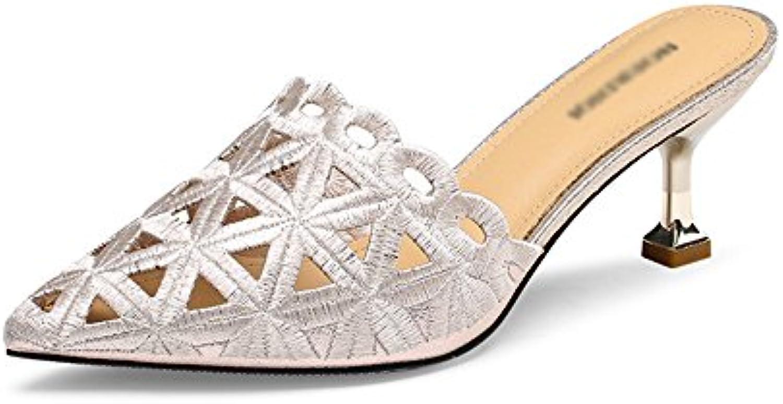 GLJXG Sandalias para Mujer de Tacón bajo, Sandalias Huecas en Punta \ Zapatillas de Moda de Verano