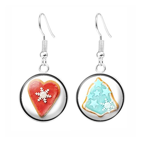 My Sunshine Ohrhänger, für Damen/Mädchen, Cabochon, Motiv Schneeflakon auf Kekse, handgefertigt - Cœur Rouge et arbre de noël bleu - Arbres Rouges