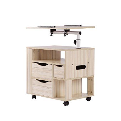 WISFORBEST Nachttisch mit Rollen, Nachtkommode mit 3 Schubladen drehbar Laptoptisch höhenverstellbar Notebookständer für Bett und Sofa, 58x48x40cm, Weiß -