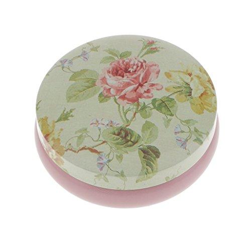 perfk Rund Metalldose Blechdose mit Deckel,Blume Form - Grün und Rosa
