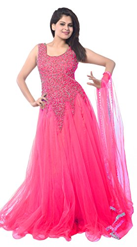 Clickedia Women's Net Gown Dress Material (Baby pink net gown _Baby Pink_)
