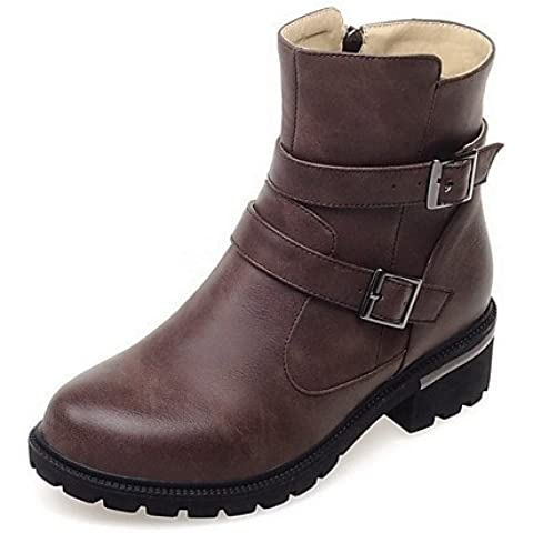 Donna Pu solido Tacchi Bassi Round punta chiusa Zipper Boots,marrone,noi6.5-7