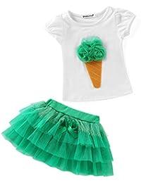BOBORA Girls Infant Kids 2pcs Clothing Sets Flower T-Shirt Top + Tutu Skirt Outfits