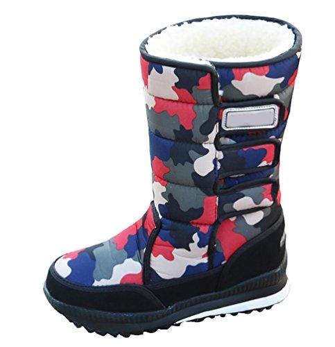 LvRao Outdoor Stiefel Schneestiefel Wasserdicht Winterstiefel Gefüttert Warme Winter Snowboots für Damen Rot