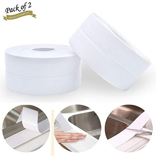 2 Pcs Bande D'étanchéité, Moker Salle de bains joint silicone blanc ruban baignoire PE auto-adhésive cuisine Coin calfeutrage