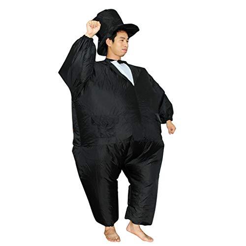 Sllowwa Aufblasbares Kostüm Smoking Fett Anzug, Fasching Karneval Party Outfit(Schwarz,One Size) (Kleinkind Wildes Kind Ninja Kostüm)