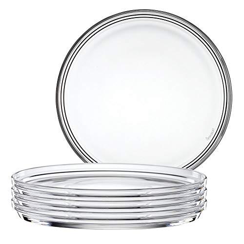 Spiegelau & Nachtmann 2670142, 4-er Set Teller gross, Kristallglas, Bistro, Größe: 22 cm, 0093511-0 - Modernes Bistro Set